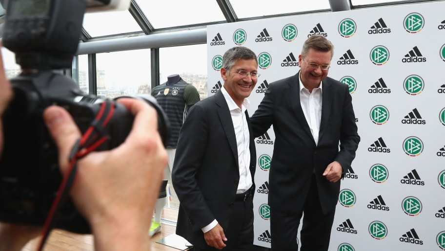 PARIS, FRANCE - JUNE 20:  Herbert Hainer (L), CEO of adidas group attends with Reinhard Grindel, president of Deutscher Fussball Bund DFB during a DFB and adidas press conference at Espace CAP15 on June 20, 2016 in Paris, France.  (Photo by Alexander Hassenstein/Getty Images)