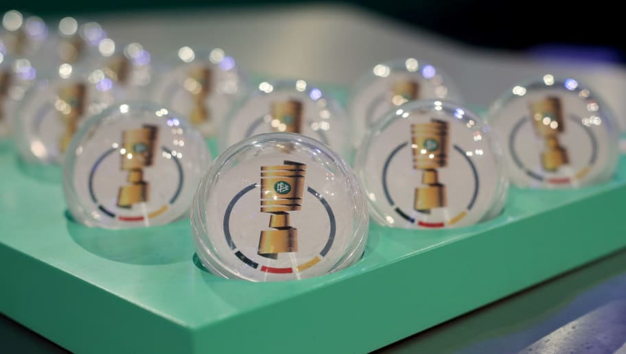 DORTMUND, GERMANY - NOVEMBER 04: The draw board with tickets during the DFB Cup Round of 16 Draw at Deutsches Fussballmuseum on November 04, 2018 in Dortmund, Germany. (Photo by Christof Koepsel/Bongarts/Getty Images)
