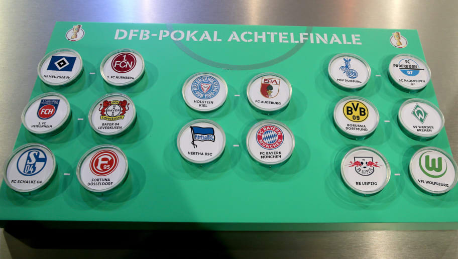 DORTMUND, GERMANY - NOVEMBER 04: The drawn matches of the DFB Cup Round of 16 Draw at Deutsches Fussballmuseum on November 04, 2018 in Dortmund, Germany. (Photo by Christof Koepsel/Bongarts/Getty Images)