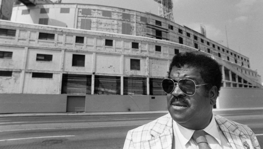 DETROIT - 1983:  NFL Hall of Fame player Dick 'Night Train' Lane poses for a portrait in front of Tiger Stadium in Detroit, Michigan in 1983. (Photo by Michael Zagaris/Getty Images)