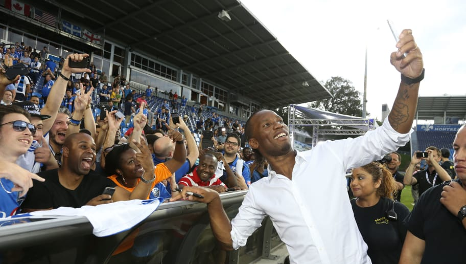 MONTREAL, QC - JULY 30: Former Chelsea player Didier Drogba of the Ivory Coast is presented to fans of the MLS team Montreal Impact during a jersey presentation and press conference at Stade Saputo on July 30, 2015 in Montreal, Quebec, Canada. (Photo by Jean Catuffe/Getty Images)