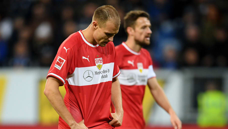 SINSHEIM, GERMANY - OCTOBER 27:  Holger Badstuber of VfB Stuttgart looks dejected during the Bundesliga match between TSG 1899 Hoffenheim and VfB Stuttgart at Wirsol Rhein-Neckar-Arena on October 27, 2018 in Sinsheim, Germany.  (Photo by Matthias Hangst/Bongarts/Getty Images)