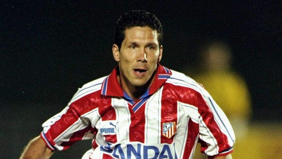 28 Aug 1996:  Diego Simeone of Athletico Madrid in action during a Spanish Friendly match against Barcelona at the Vincente Calderon Stadium in Madrid, Spain. \ Mandatory Credit: Clive  Brunskill/Allsport