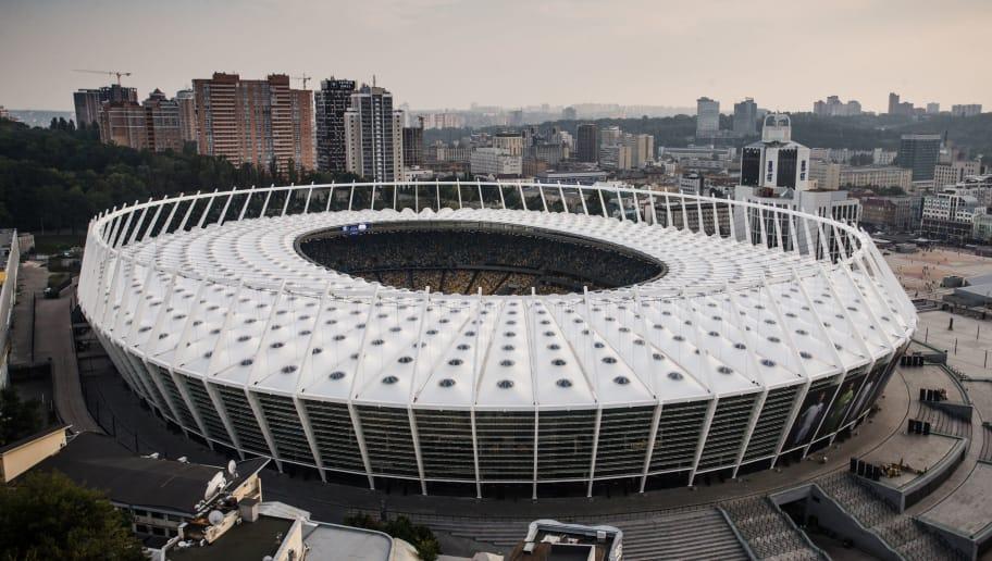 KIEV, UKRAINE - AUGUST 28: General view stadium of Dinamo Kiev during the UEFA Champions League  match between Dinamo Kiev v Ajax at the NSK Olimpiejsky on August 28, 2018 in Kiev Ukraine (Photo by Erwin Spek/Soccrates/Getty Images)