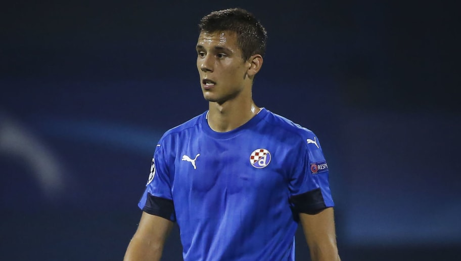 ZAGREB, CROATIA - AUGUST 16: Filip Benkovic of Dinamo Zagreb looks on during the UEFA Champions League Play-offs First leg match between Dinamo Zagreb and Salzburg at Stadion Maksimir on August 16, 2016 in Zagreb, Croatia. (Photo by Srdjan Stevanovic/Getty Images)