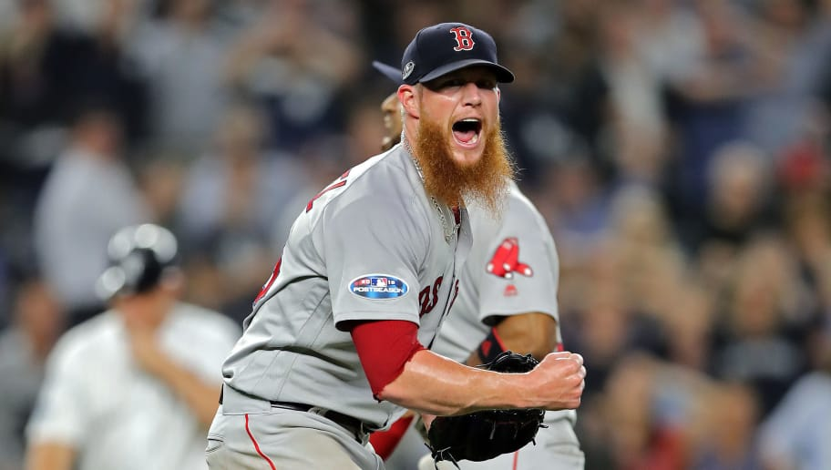 NEW YORK, NEW YORK - OCTOBER 09:  Craig Kimbrel #46 of the Boston Red Sox celebrates after beating the New York Yankees to win Game Four American League Division Series at Yankee Stadium on October 09, 2018 in the Bronx borough of New York City. (Photo by Elsa/Getty Images)