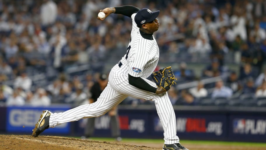 NEW YORK, NEW YORK - OCTOBER 09:  Aroldis Chapman #54 of the New York Yankees throws a pitch against the Boston Red Sox during the ninth inning in Game Four of the American League Division Series at Yankee Stadium on October 09, 2018 in the Bronx borough of New York City. (Photo by Mike Stobe/Getty Images)