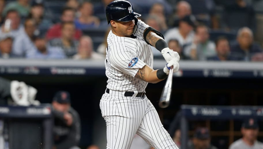 NEW YORK, NY - OCTOBER 09:  (NEW YORK DAILIES OUT)   Gleyber Torres #25 of the New York Yankees in action against the Boston Red Sox in Game Four of the American League Division Series at Yankee Stadium on October 9, 2018 in the Bronx borough of New York City. The Red Sox defeated the Yankees  4-3.  (Photo by Jim McIsaac/Getty Images)