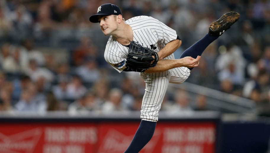 NEW YORK, NY - OCTOBER 09:  (NEW YORK DAILIES OUT)   David Robertson #30 of the New York Yankees in action against the Boston Red Sox in Game Four of the American League Division Series at Yankee Stadium on October 9, 2018 in the Bronx borough of New York City. The Red Sox defeated the Yankees  4-3.  (Photo by Jim McIsaac/Getty Images)