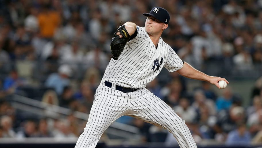 NEW YORK, NY - OCTOBER 09:  (NEW YORK DAILIES OUT)   Zach Britton #53 of the New York Yankees in action against the Boston Red Sox in Game Four of the American League Division Series at Yankee Stadium on October 9, 2018 in the Bronx borough of New York City. The Red Sox defeated the Yankees  4-3.  (Photo by Jim McIsaac/Getty Images)