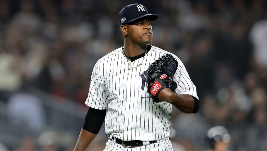 NEW YORK, NEW YORK - OCTOBER 08:   Luis Severino #40 of the New York Yankees walks back to the dugout after being pulled against the Boston Red Sox during the fourth inning in Game Three of the American League Division Series at Yankee Stadium on October 08, 2018 in the Bronx borough of New York City. (Photo by Elsa/Getty Images)