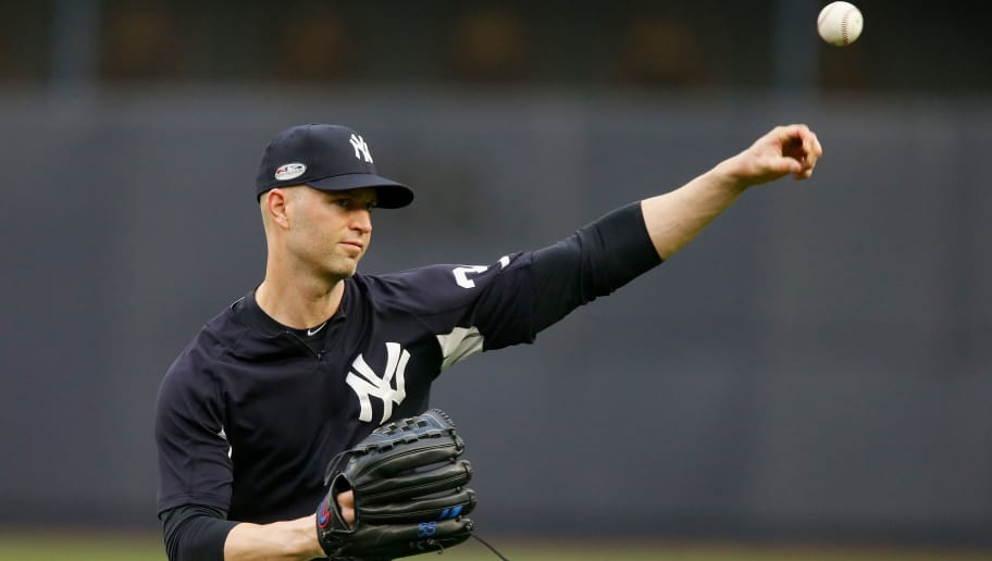 NEW YORK, NY - OCTOBER 08:  (NEW YORK DAILIES OUT)    J.A. Happ #34 of the New York Yankees during batting practice against the Boston Red Sox before Game Three of the American League Division Series at Yankee Stadium on October 8, 2018 in the Bronx borough of New York City. The Red Sox defeated the Yankees  16-1.  (Photo by Jim McIsaac/Getty Images)