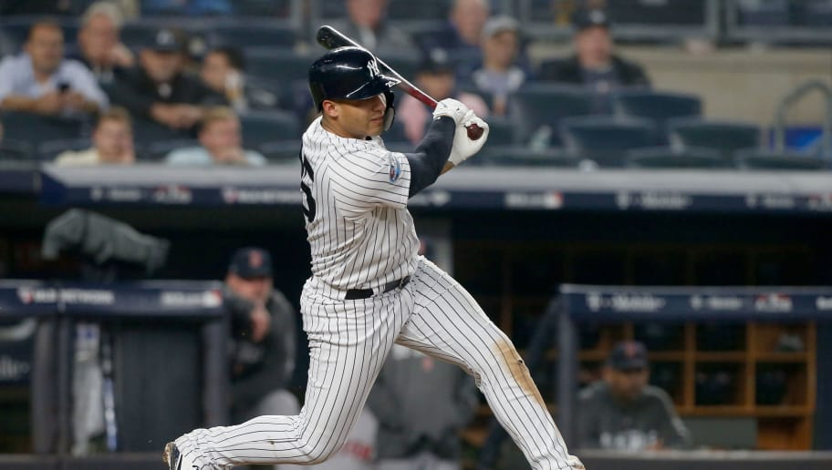 NEW YORK, NY - OCTOBER 08:  (NEW YORK DAILIES OUT)   Gleyber Torres #25 of the New York Yankees in action against the Boston Red Sox in Game Three of the American League Division Series at Yankee Stadium on October 8, 2018 in the Bronx borough of New York City. The Red Sox defeated the Yankees  16-1.  (Photo by Jim McIsaac/Getty Images)