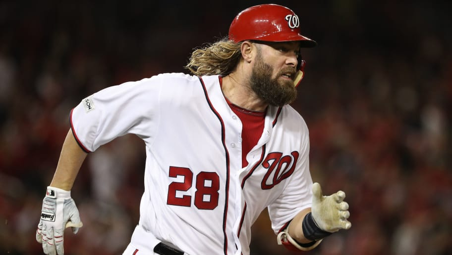 WASHINGTON, DC - OCTOBER 12: Jayson Werth #28 of the Washington Nationals runs after hitting a single against the Chicago Cubs during the fourth inning in game five of the National League Division Series at Nationals Park on October 12, 2017 in Washington, DC. (Photo by Patrick Smith/Getty Images)