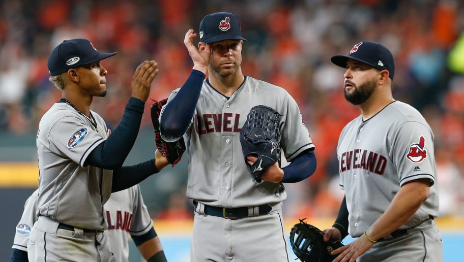 HOUSTON, TX - OCTOBER 05:  Starting pitcher Corey Kluber #28 of the Cleveland Indians is taken out of the game in the fifth inning against the Houston Astros during Game One of the American League Division Series at Minute Maid Park on October 5, 2018 in Houston, Texas.  (Photo by Tim Warner/Getty Images)