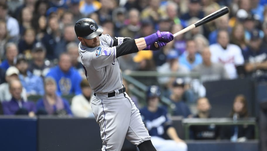 MILWAUKEE, WI - OCTOBER 05:  Trevor Story #27 of the Colorado Rockies at bat during Game Two of the National League Divisional Series against the Milwaukee Brewers at Miller Park on October 5, 2018 in Milwaukee, Wisconsin.  The Brewers defeated the Rockies 4-0.  (Photo by Stacy Revere/Getty Images)
