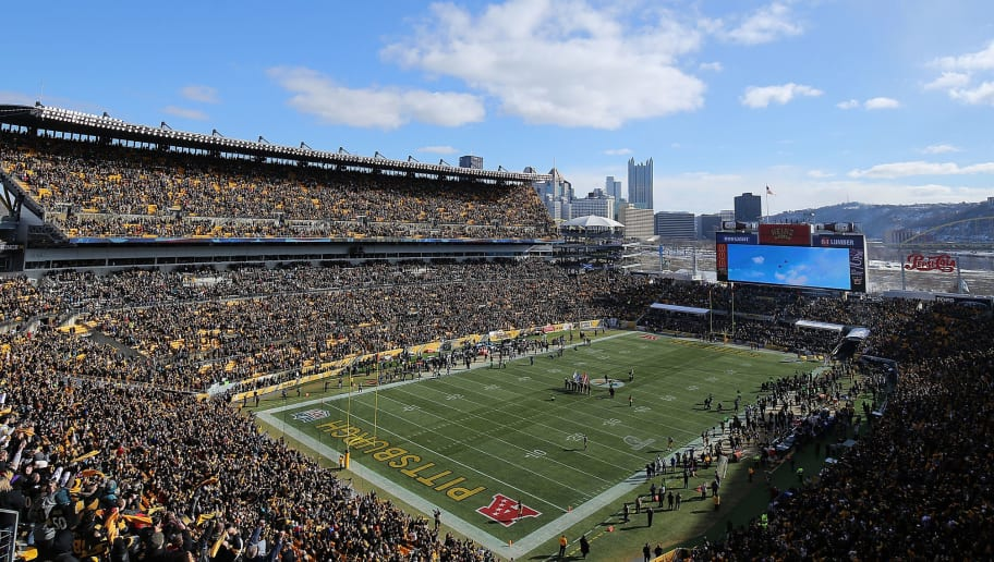PITTSBURGH, PA - JANUARY 14: A view of the the field during a fly over by F-16 jets before kickoff of the AFC Divisional Playoff game between the Pittsburgh Steelers and the Jacksonville Jaguars at Heinz Field on January 14, 2018 in Pittsburgh, Pennsylvania. (Photo by Brett Carlsen/Getty Images)