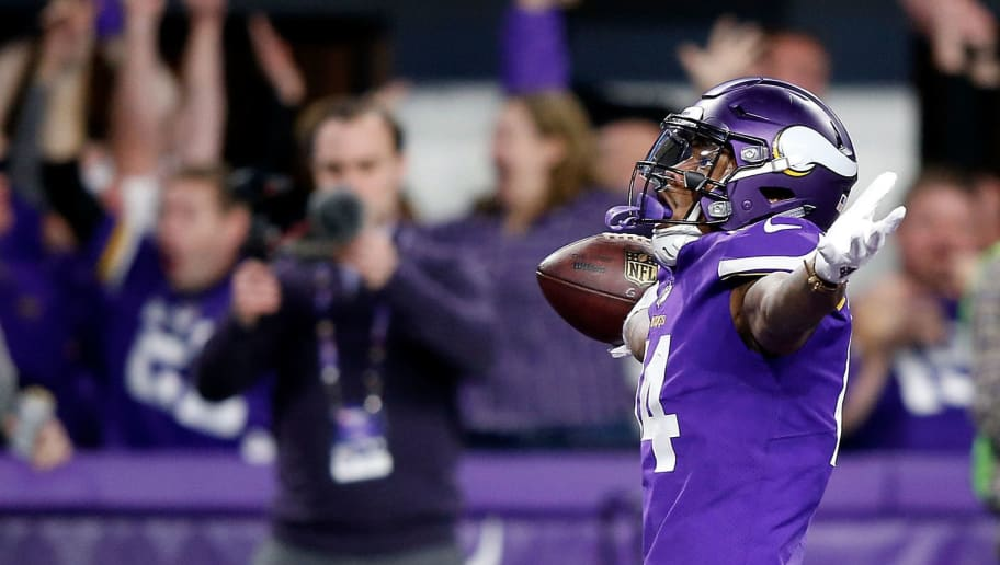 MINNEAPOLIS, MN - JANUARY 14:  Wide receiver Stefon Diggs #14 of the Minnesota Vikings celebrates as he runs into the endzone for the game-winning touchdown as the Vikings defeat the New Orleans Saints 29-24 to win the NFC divisional round playoff game at U.S. Bank Stadium on January 14, 2018 in Minneapolis, Minnesota.  (Photo by Jamie Squire/Getty Images)