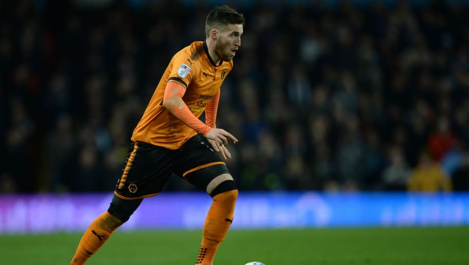 BIRMINGHAM, ENGLAND - MARCH 10: Matt Doherty of Wolverhampton Wanderers in action during the Sky Bet Championship match between Aston Villa and Wolverhampton Wanderers at Villa Park on March 10, 2018 in Birmingham, England. (Photo by Nathan Stirk/Getty Images,)