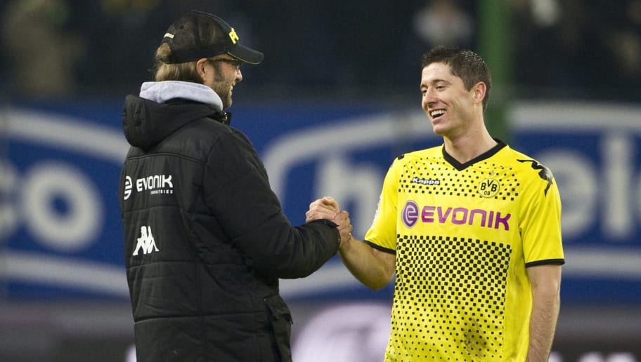 Dortmund's head coach Juergen Klopp cong