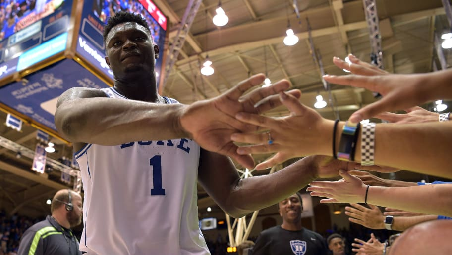 DURHAM, NC - OCTOBER 19: Zion Williamson #1 of the Duke Blue Devils high-fives the Cameron Crazies during Countdown to Craziness at Cameron Indoor Stadium on October 19, 2018 in Durham, North Carolina. (Photo by Lance King/Getty Images)