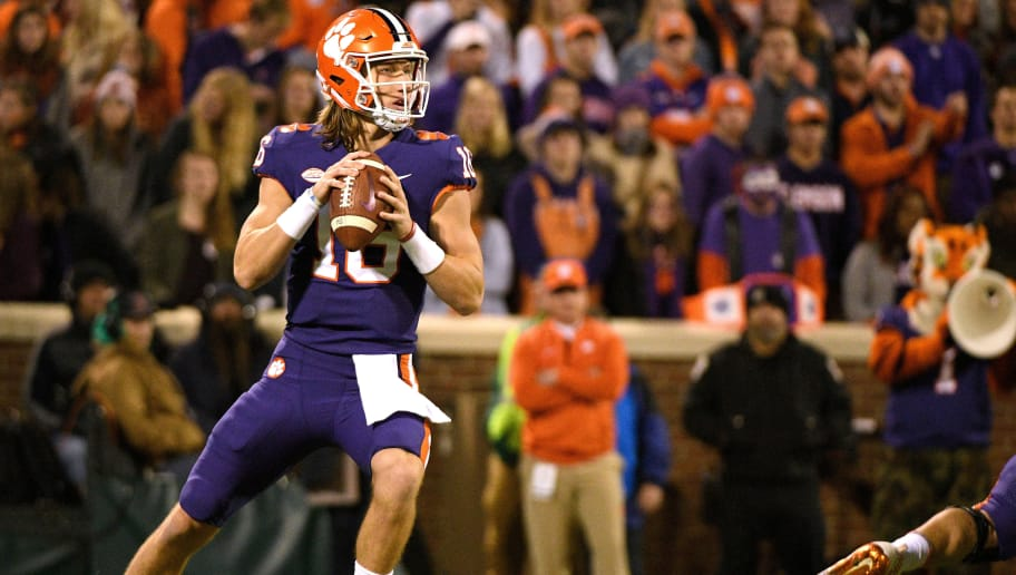 CLEMSON, SC - NOVEMBER 17: Trevor Lawrence #16 of the Clemson Tigers drops back to pass against the Duke Blue Devils at Clemson Memorial Stadium on November 17, 2018 in Clemson, South Carolina. (Photo by Lance King/Getty Images)