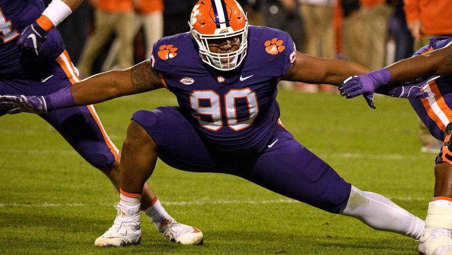 CLEMSON, SC - NOVEMBER 17: Dexter Lawrence #90 of the Clemson Tigers warms up prior to their game against the Duke Blue Devils at Clemson Memorial Stadium on November 17, 2018 in Clemson, South Carolina. (Photo by Lance King/Getty Images)