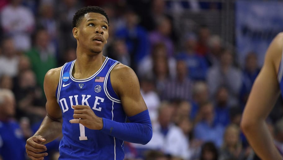 OMAHA, NE - MARCH 25: Trevon Duval #1 of the Duke Blue Devils looks on during their game against the Kansas Jayhawks during the 2018 NCAA Men's Basketball Tournament Midwest Regional Final at CenturyLink Center on March 25, 2018 in Omaha, Nebraska. (Photo by Lance King/Getty Images)