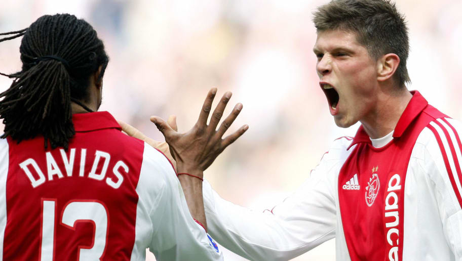 Dutch Ajax players Klaas Jan Huntelaar (