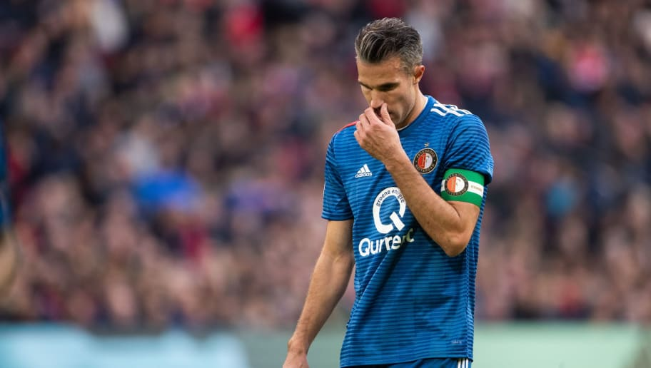 Robin van Persie of Feyenoord during the Dutch Eredivisie match between Ajax Amsterdam and Feyenoord Rotterdam at the Johan Cruijff Arena on October 28, 2018 in Amsterdam, The Netherlands(Photo by VI Images via Getty Images)