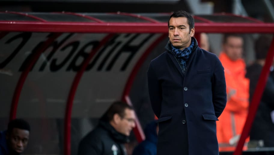trainer coach Giovanni van Bronckhorst during the Dutch Eredivisie match between FC Emmen and Feyenoord Rotterdam at De Oude Meerdijk on December 09, 2018 in Emmen, The Netherlands(Photo by VI Images via Getty Images)