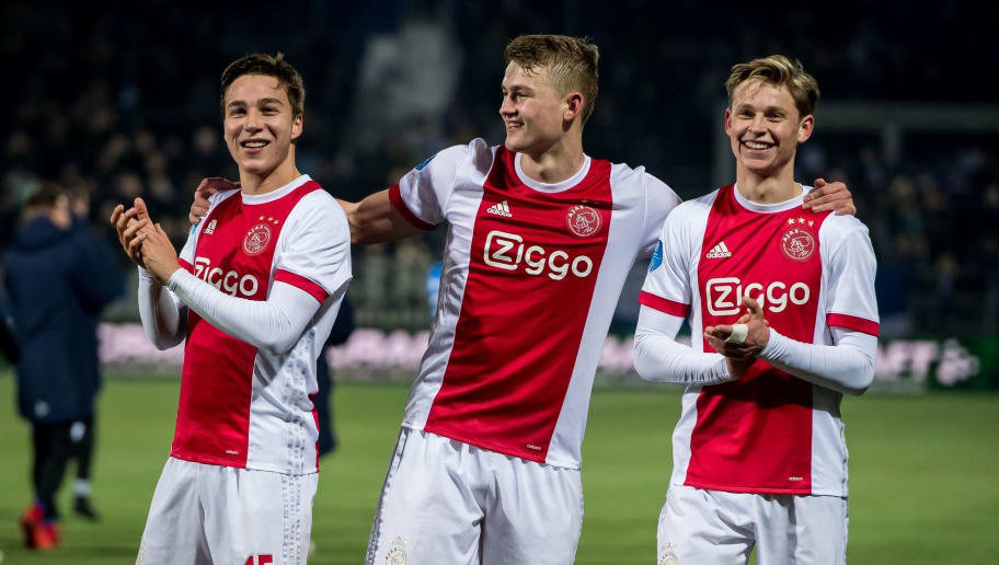 (L-R) Carel Eiting of Ajax, Matthijs de Ligt of Ajax, Frenkie de Jong of Ajax during the Dutch Eredivisie match between PEC Zwolle and Ajax Amsterdam at the MAC3Park stadium on February 18, 2018 in Zwolle, The Netherlands(Photo by VI Images via Getty Images)