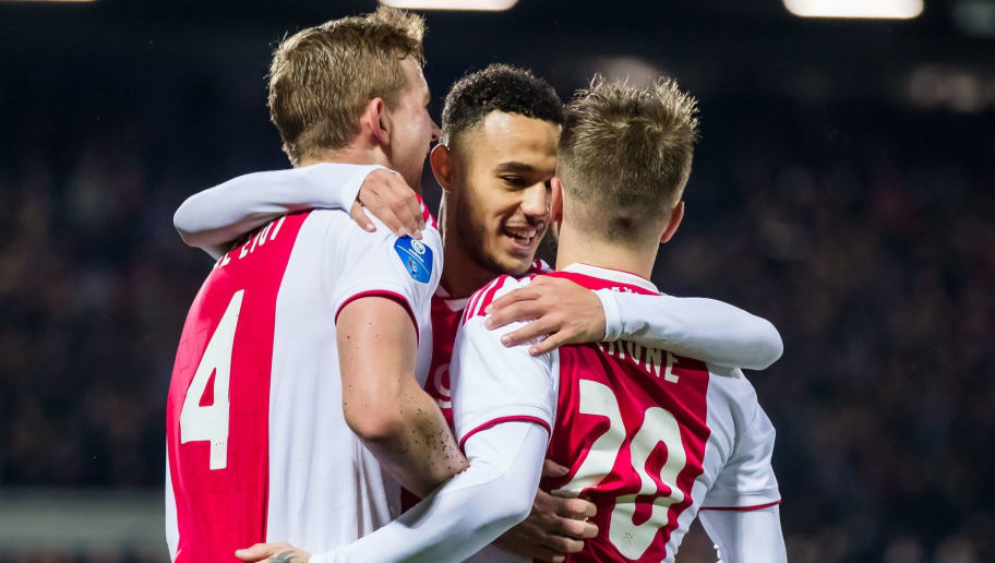 (L-R) Matthijs de Ligt of Ajax, Noussair Mazraoui of Ajax, Lasse Schone of Ajax during the Dutch Eredivisie match between PEC Zwolle and Ajax Amsterdam at the MAC3Park stadium on December 08, 2018 in Zwolle, The Netherlands(Photo by VI Images via Getty Images)