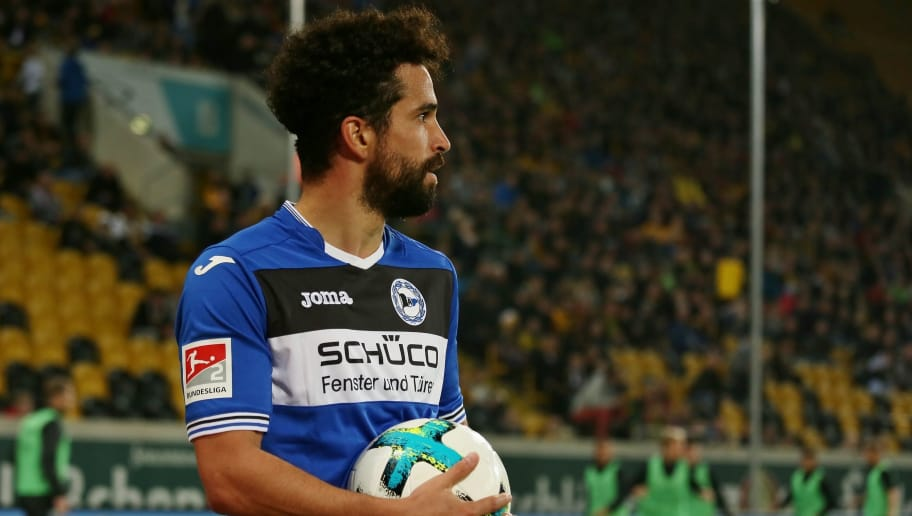 DRESDEN, GERMANY - SEPTEMBER - 20: Nils Teixeira of Bielefeld looks on during the Second Bundesliga match between Dynamo Dresden and Arminia Bielefeld at DDV-Stadion on September 20, 2017 in Dresden, Germany. (Photo by TF-Images/TF-Images via Getty Images)