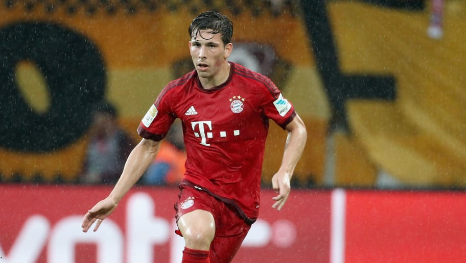 DRESDEN, GERMANY - AUGUST 17:  Pierre Emile Hojbjerg of Bayern Muenchen during the friendly match between SG Dynamo Dresden and FC Bayern Muenchen at Gluecksgas-Stadion on August 17, 2015 in Dresden, Germany.  (Photo by Karina Hessland/Bongarts/Getty Images)