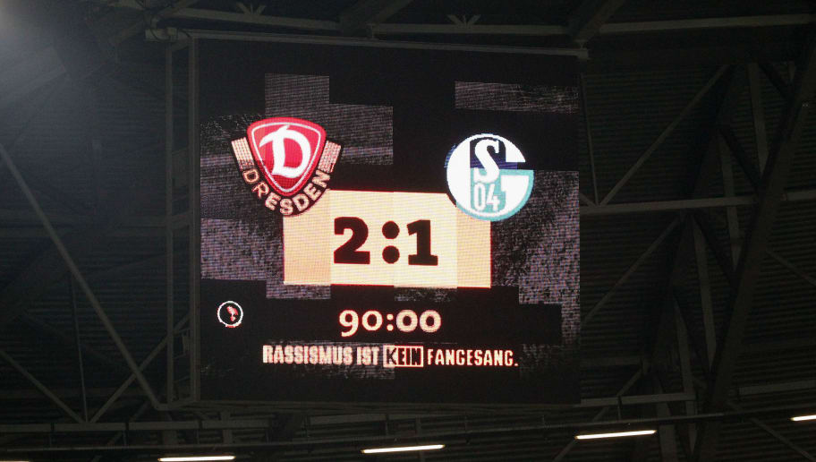 DRESDEN, GERMANY - AUGUST 18: Scoreboard,  Dresden wins the DFB Cup between SG Dynamo Dresden and FC Schalke 04 at Gluecksgas-Stadion on August 18, 2014 in Dresden, Germany.  (Photo by Karina Hessland/Bongarts/Getty Images)