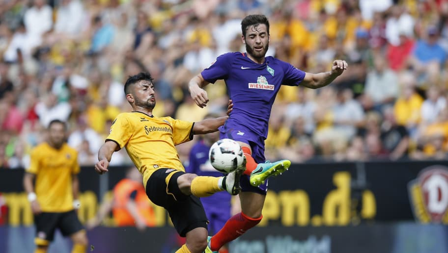 DRESDEN, GERMANY - JULY 30:  Aias Aosman (L) of Dynamo Dresden challenges Thanos Petsos of Werder Bremen during the Bundeswehr Karriere Cup Dresden 2016 match between Dynamo Dresden and Werder Bremen at DDV-Stadion on July 30, 2016 in Dresden, Germany.  (Photo by Boris Streubel/Bongarts/Getty Images)
