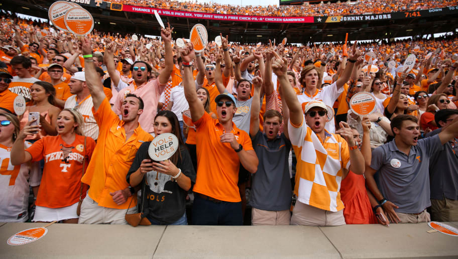 KNOXVILLE, TN - SEPTEMBER 08: Tennessee Fans in the student section during a game against the East Tennessee State University Buccaneers at Neyland Stadium on September 8, 2018 in Knoxville, Tennessee. Tennessee won the game 59-3. (Photo by Donald Page/Getty Images)