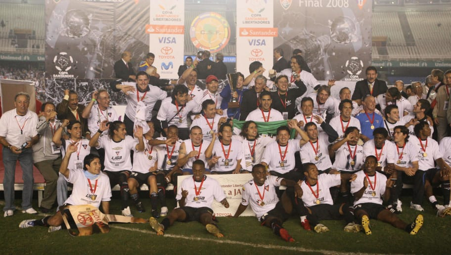 Ecuador's players Liga of Quito hold the