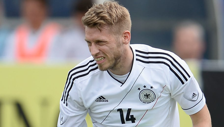BOCA RATON, FL - MAY 29:  Aaron Hunt of Germany reacts during the International Friendly match between Ecuador and Germany at FAU stadium on May 29, 2013 in Boca Raton, Florida.  (Photo by Dennis Grombkowski/Bongarts/Getty Images)