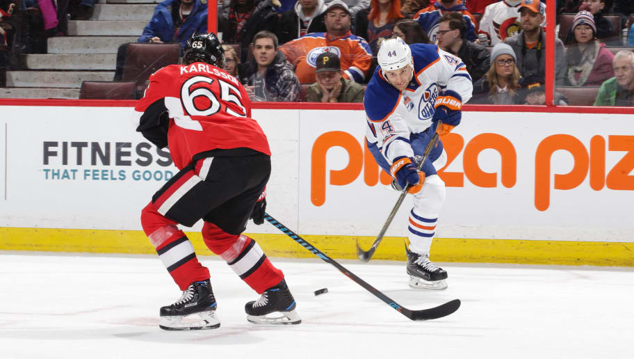 OTTAWA, ON - JANUARY 08: Zack Kassian #44 of the Edmonton Oilers shoots the puck against Erik Karlsson #65 of the Ottawa Senators at Canadian Tire Centre on January 8, 2017 in Ottawa, Ontario, Canada.  (Photo by Jana Chytilova/Freestyle Photography/Getty Images)