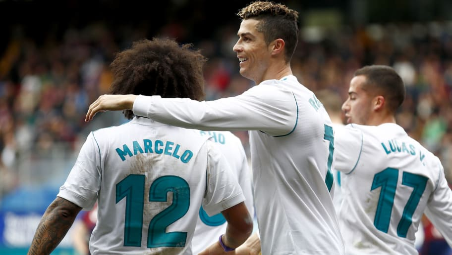 EIBAR, SPAIN - MARCH 10: Cristiano Ronaldo of Real Madrid celebrates 1-2 with Marcelo of Real Madrid during the La Liga Santander  match between Eibar v Real Madrid at the Estadio Municipal de Ipurua on March 10, 2018 in Eibar Spain (Photo by David S. Bustamante/Soccrates/Getty Images)