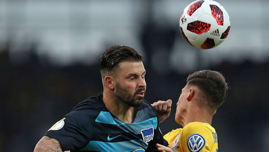 BRAUNSCHWEIG, GERMANY - AUGUST 20: Marvin Plattenhardt of Hertha BSC, Ivan Franjic of Eintracht Braunschweig and Ondrej Duda of Hertha BSC battle for the ball during the DFB Cup first round match between Eintracht Braunschweig and Hertha BSC at Eintracht Stadion on August 20, 2018 in Braunschweig, Germany. (Photo by TF-Images/Getty Images)