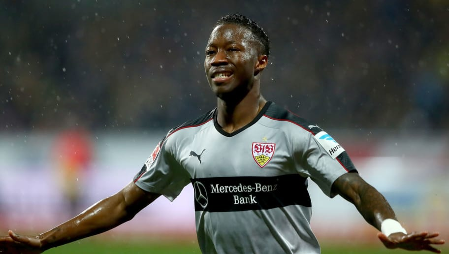 BRAUNSCHWEIG, GERMANY - MARCH 06:  Carlos Manuel Mane of Stuttgart celebrates after he scores the opening goal during the Second Bundesliga match between Eintracht Braunschweig and VfB Stuttgart at Eintracht Stadion on March 6, 2017 in Braunschweig, Germany.  (Photo by Martin Rose/Bongarts/Getty Images)