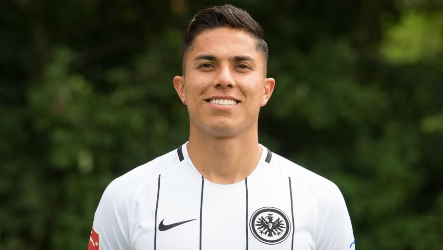 FRANKFURT AM MAIN, GERMANY - AUGUST 04: Carlos Salcedo of Eintracht Frankfurt poses during the team presentation at  on August 4, 2017 in Frankfurt am Main, Germany. (Photo by Daniel Kopatsch/Bongarts/Getty Images)