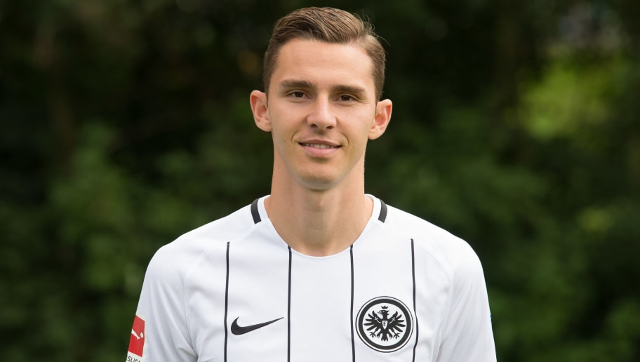 FRANKFURT AM MAIN, GERMANY - AUGUST 04: Branimir Hrgota of Eintracht Frankfurt poses during the team presentation at  on August 4, 2017 in Frankfurt am Main, Germany. (Photo by Daniel Kopatsch/Bongarts/Getty Images)