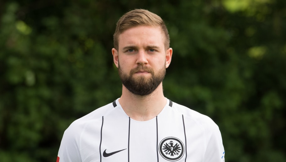 FRANKFURT AM MAIN, GERMANY - AUGUST 04: Marc Stendera of Eintracht Frankfurt poses during the team presentation at  on August 4, 2017 in Frankfurt am Main, Germany. (Photo by Daniel Kopatsch/Bongarts/Getty Images)