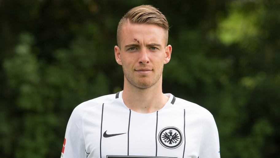 FRANKFURT AM MAIN, GERMANY - AUGUST 04: Max Besuschkow of Eintracht Frankfurt poses during the team presentation at  on August 4, 2017 in Frankfurt am Main, Germany. (Photo by Daniel Kopatsch/Bongarts/Getty Images)