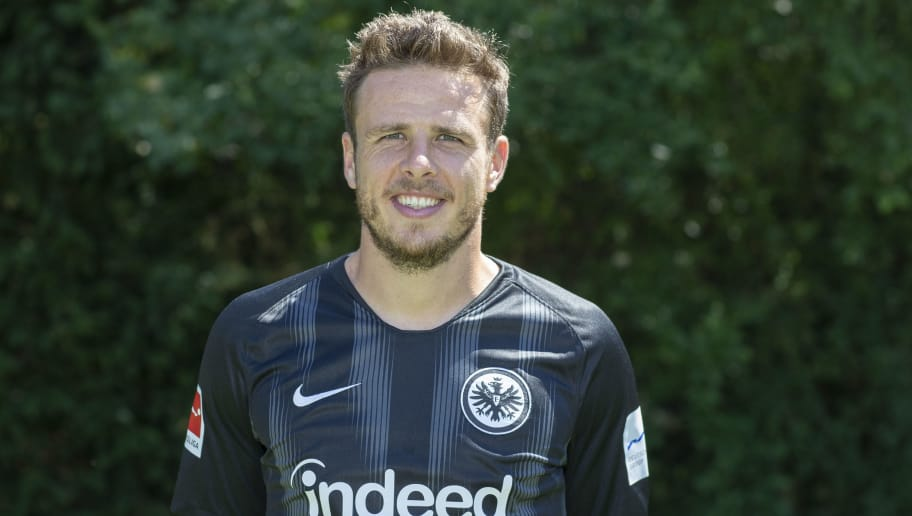 FRANKFURT AM MAIN, GERMANY - JULY 26: Nicolai Mueller of Eintracht Frankfurt poses during the team presentation at Training Ground Wintersporthalle on July 26, 2018 in Frankfurt am Main, Germany. (Photo by Christof Koepsel/Bongarts/Getty Images)