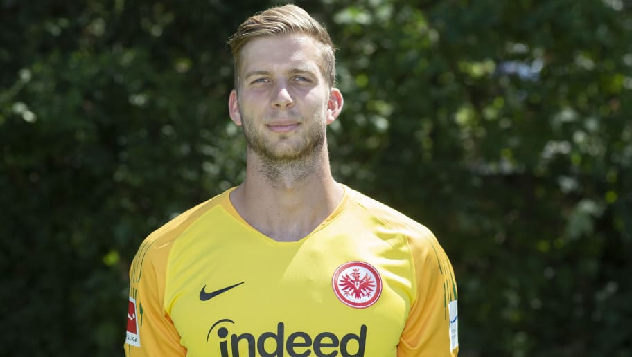 FRANKFURT AM MAIN, GERMANY - JULY 26: Felix Wiedwald of Eintracht Frankfurt poses during the team presentation at Training Ground Wintersporthalle on July 26, 2018 in Frankfurt am Main, Germany. (Photo by Christof Koepsel/Bongarts/Getty Images)
